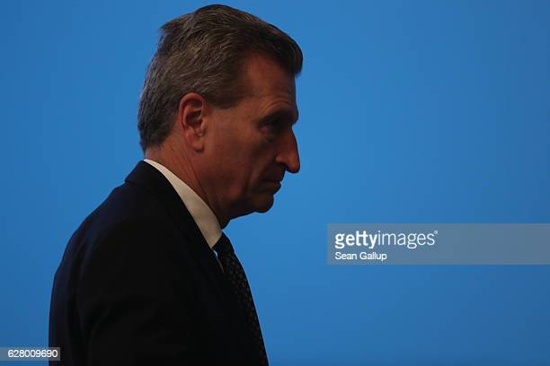 European Union Commissioner for the Digital Economy and Society Guenther Oettinger attends the 29th federal congress of the German Christian...