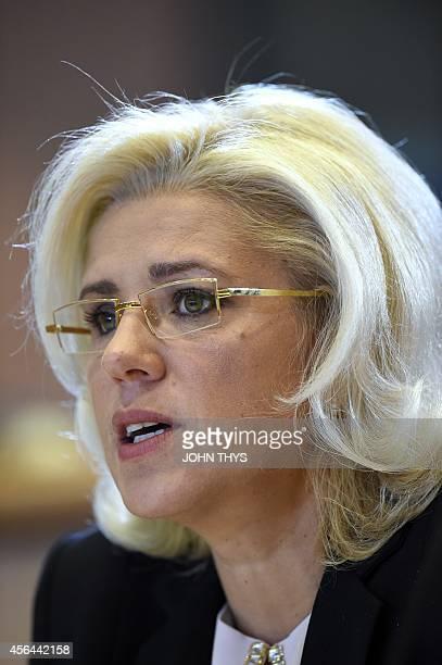 European Union Commissionerdesignate for Regional Policy Corina Cretu of Romania speaks during her confirmation hearing in front of the European...