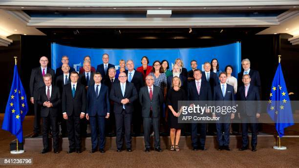 European Union Commissioners Gunther Oettinger Valdis Dombrovskis vicepresident Andrus Ansip first vicepresident Frans Timmermans President elect...