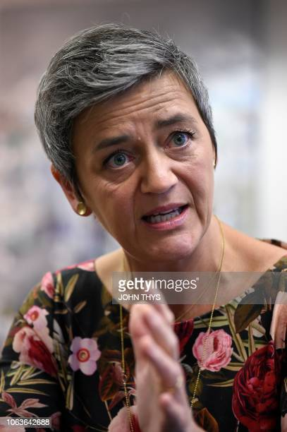 European Union Competition Commissioner Margrethe Vestager answers to a journalist during an interview at the EU headquarters in Brussels on November...