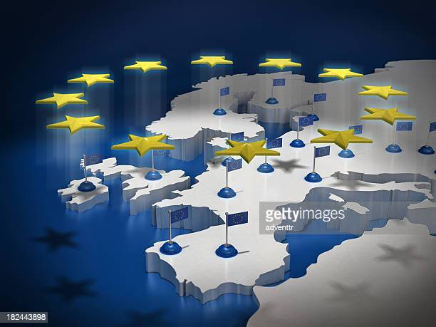 european union concept - british and eu flag stock pictures, royalty-free photos & images