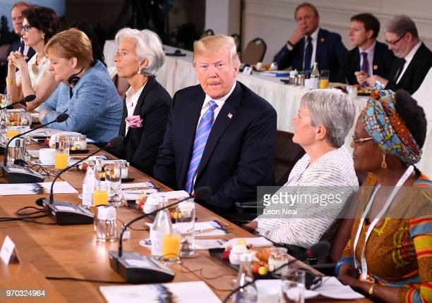 European Union Council President Donald Tusk Dayle Haddon Christine Lagarde US President Donald Trump Christine Whitecross and Winnie Byanyima during...