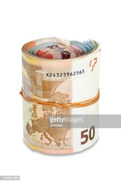 Monnaie de l'Union européenne, les billets: Bundle isolé de l'argent