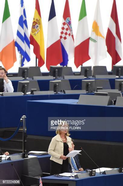 European Union diplomatic chief Federica Mogherini speaks during a debate on the consequences and EUs response to US Presidents withdrawal from the...