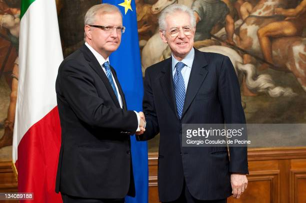 European Union Economic and Monetary Affairs Commissioner Olli Rehn meets Italian Prime Minister Mario Monti at Palazzo Chigi on November 25 2011 in...