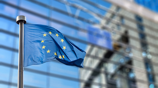 European Union flag against European Parliament 506815322