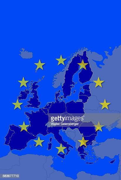 European Union Flag and Map of European Union