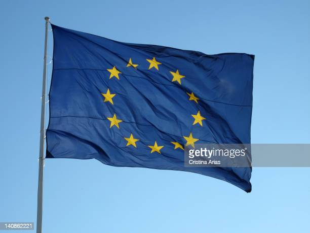 European Union flag at the Mirador de San Vicente in Rio Madrid Spain April 2011