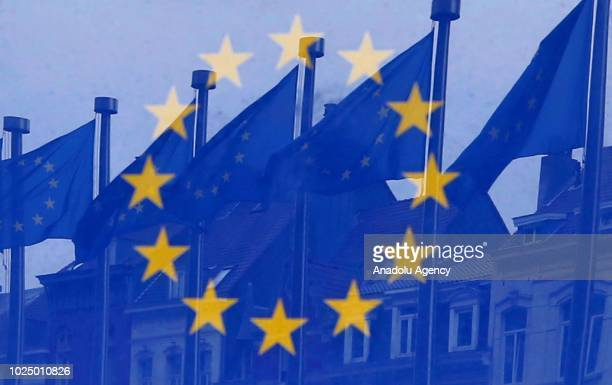 European Union flag flapping in Brussels Belgium on August 29 2018
