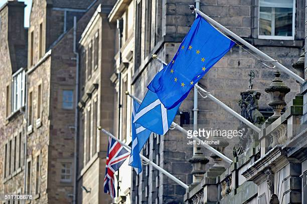 European Union flag flies alongside the Saltire and Union Jack on the Royal Mile on February 22 2016 in Edinburgh Scotland Prime Minister David...