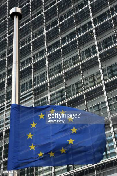 European Union flag flies at half mast in honour of former South African leader Nelson Mandela who died at the age of 95 last night outside the...