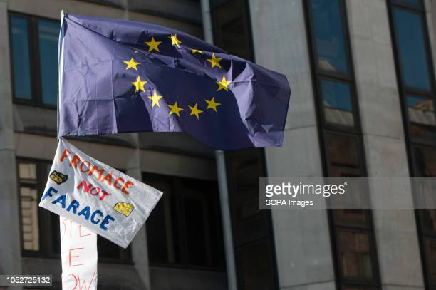 European Union flag is seen raised during a huge demonstration organised by the People's vote campaign The rally gathered at Park Lane and marched to...