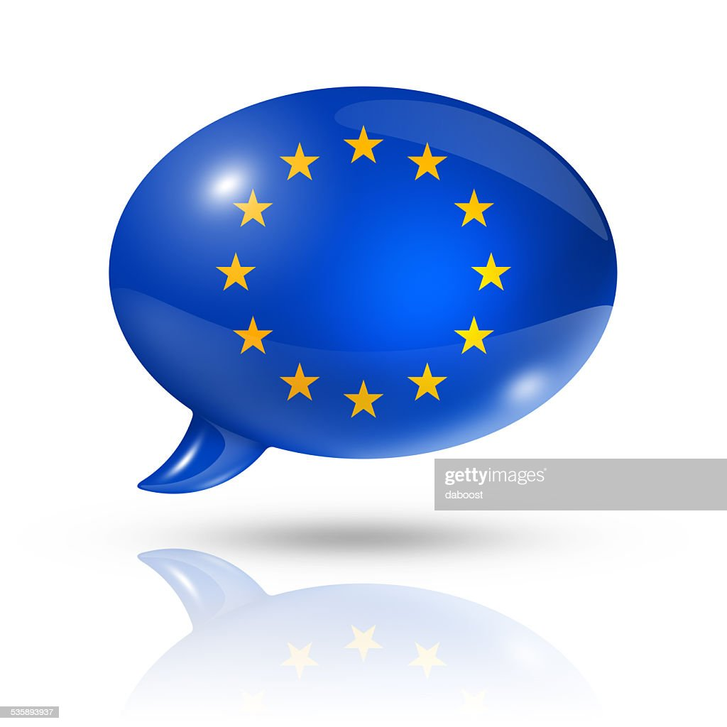 European union flag speech bubble : Bildbanksbilder