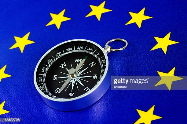Europäische Union Fahne mit Kompass