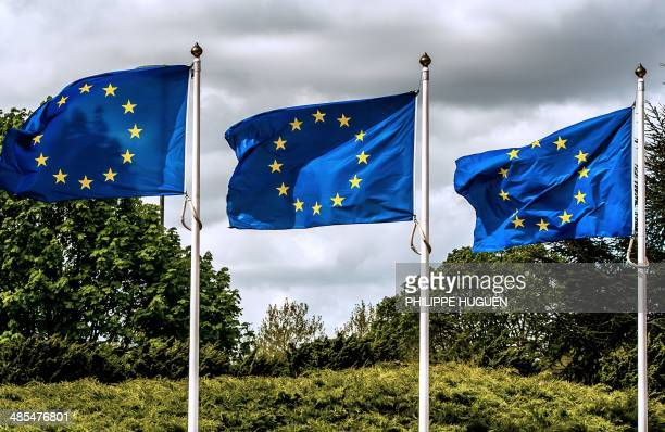 European union flags float in Lille northern France on April 18 2014 AFP PHOTO / PHILIPPE HUGUEN