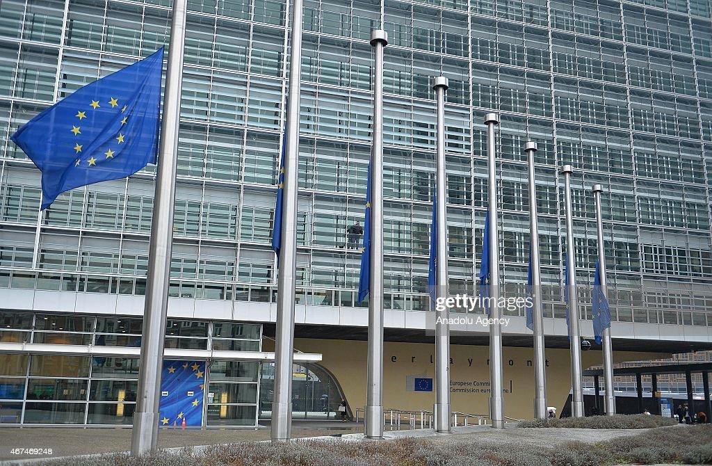 EU flags at half mast to mourn Germanwings crash victims : News Photo