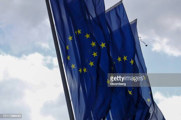 European Union flags fly outside the European Central Bank headquarters in Frankfurt, Germany, on Wednesday, April 29, 2020. TheECB's response to...