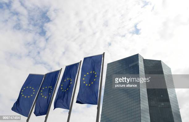 European Union flags fly outside the headquarters of the European Central Bank in Frankfurt am Main, Germany, 7 September 2017. The bank continues to...