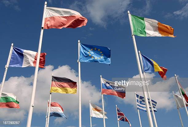 european union flags - international politics stock pictures, royalty-free photos & images