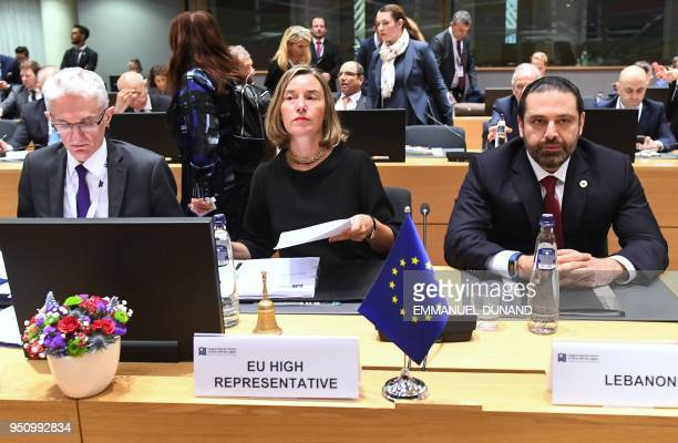 European Union foreign policy chief Federica Mogherini United Nations UnderSecretaryGeneral Emergency Relief Coordinator Mark Lowcock and Lebanon's...