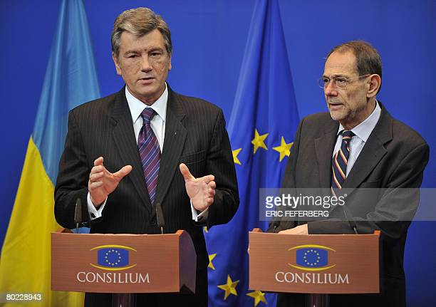 European Union Foreign Policy Chief Javier Solana and Ukraine's President Viktor Yushchenko give a press conference on the sidelines of a European...
