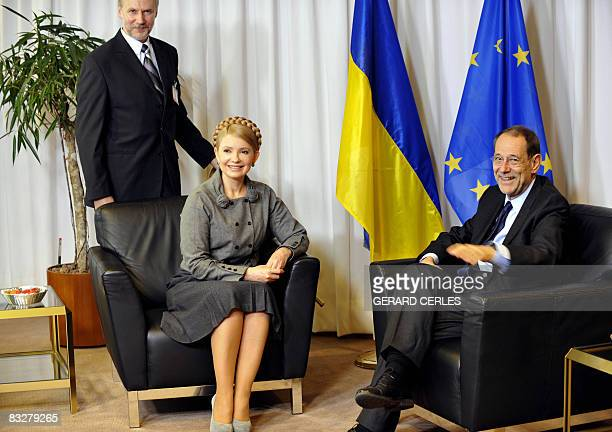European Union Foreign Policy Chief Javier Solana and Ukrainian Prime Minister Yulia Tymoshenko pose prior their meeting on the sidelines of a...