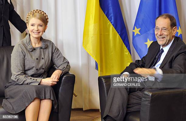 European Union Foreign Policy Chief Javier Solana and Ukrainian Prime Minister Yulia Tymoshenko pose prior a presser on the sidelines of a European...