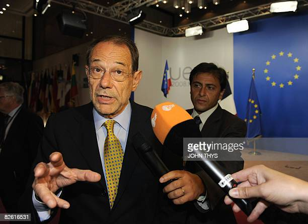 European Union Foreign Policy Chief Javier Solana speaks to journalists after a meeting with Georgia's Prime minister Lado Gurgenidze ahead of an...