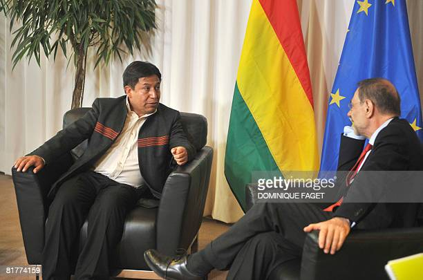 European Union Foreign Policy Chief Javier Solana talks with Bolivian Foreign Minister David Choquehuanca on June 30 2008 during their bilateral...