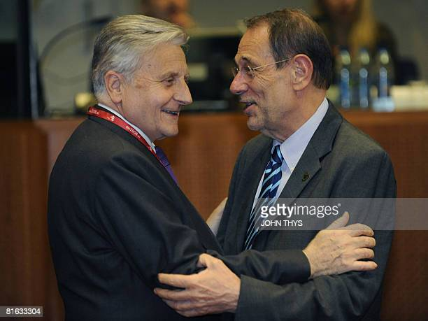 European Union Foreign Policy Chief Javier Solana talks with JeanClaude Trichet Presidenet of Central European Bank prior to a working session of a...