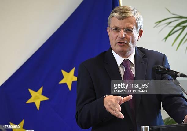 European Union Health Commissioner Tonio Borg addresses a press conference following a EU ministerial coordination meeting on EU public health...