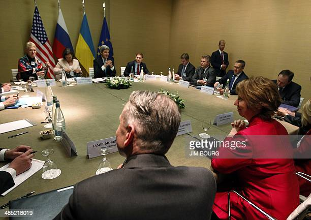 European Union High Representative Catherine Ashton looks on at the start of a quadrilateral meeting with US Secretary of State John Kerry and...