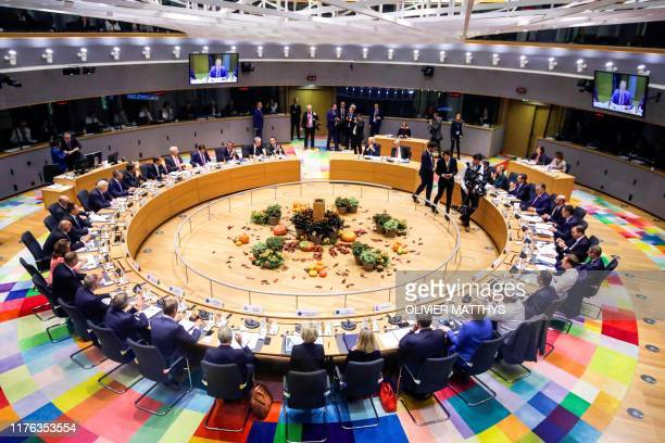 European Union leaders attend a round table meeting as part of a European Union summit at European Union Headquarters in Brussels on October 17 2019...