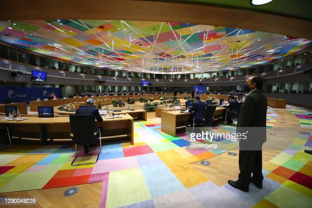 European Union leaders during a roundtable meeting at a EU leaders summit in Brussels, Belgium, on Thursday, Dec. 10, 2020. EUleaderswill...