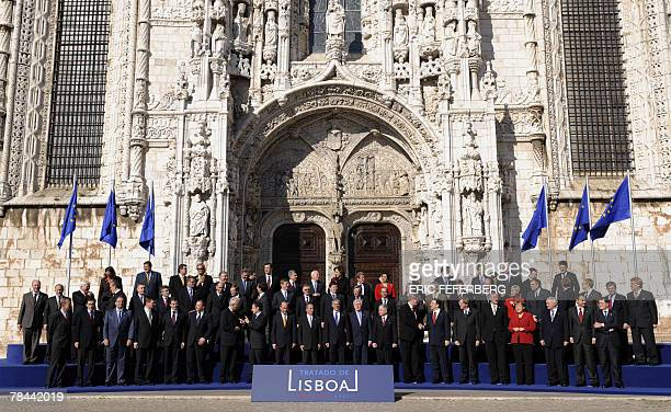 European Union leaders pose for a family picture after they signed a landmark treaty 13 December 2007 at the Jeronimo monastery in Lisbon 'History...