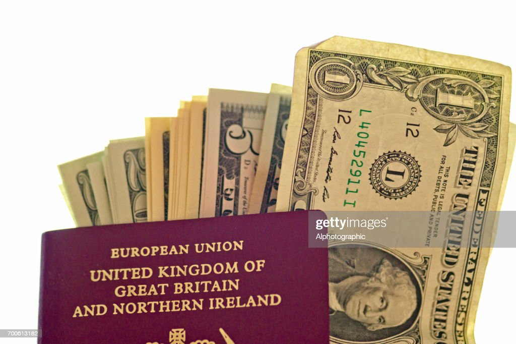Uk European Union Pport And Us Dollars Stock Photo