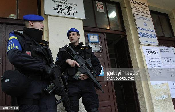 European Union police mission in Kosovo secure on November 17 2013 the entrance of a polling station in the Serbpopulated part of the ethnically...