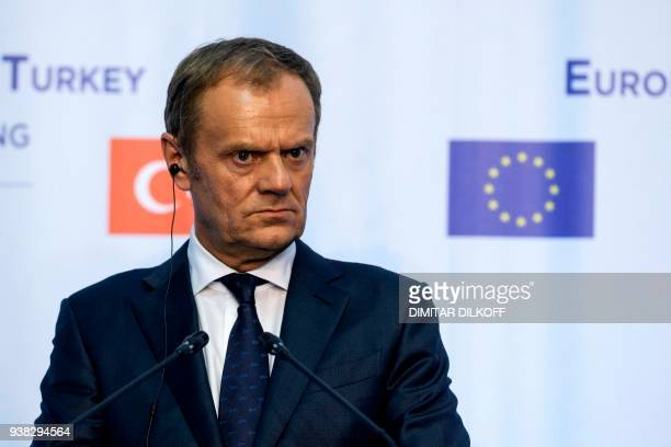European Union President Donald Tusk attends a join news conference with Bulgarian Prime Minister Turkish President and European Commission in Varna...