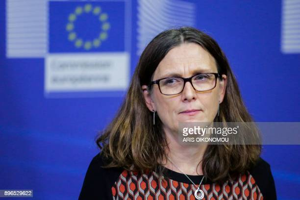 European Union Trade Commissioner Cecilia Malmstrom gives a joint press conference with Mexico's Minister of Economy after their meeting focused on...