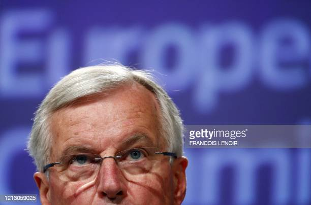European Union's Brexit negotiator Michel Barnier speaks during a news conference following the third round of Brexit talks with Britain in Brussels...