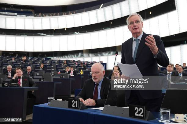 European Union's chief Brexit negotiator Michel Barnier gestures as he speaks during a debate on the Britains withdrawal from the EU during a plenary...