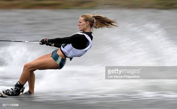 European Water Ski Championships Thorpe UK Ladies Open Slalom compeitor in the final The event was won by Clementine Lucine FRA | Location Thorpe...