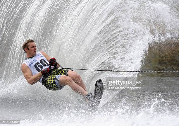 European Water Ski Championships Thorpe UK Mens Open Slalom final World Champion William Asher GBR on his run to winning the title | Location Thorpe...
