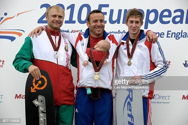 European Water Ski Championships Thorpe UK Mens Open Tricks final presentation Oleg Deviatovski BLR Nicolas Le Forestier FRA Alexande Poteau FRA |...