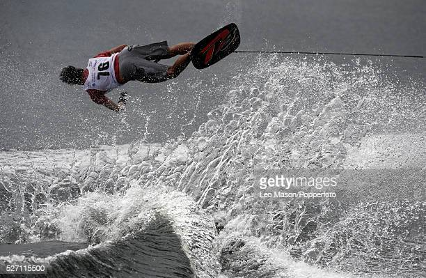 European Water Ski Championships Thorpe UK Mens Open tricks preliminary round competitor | Location: Thorpe, England, United Kingdom.