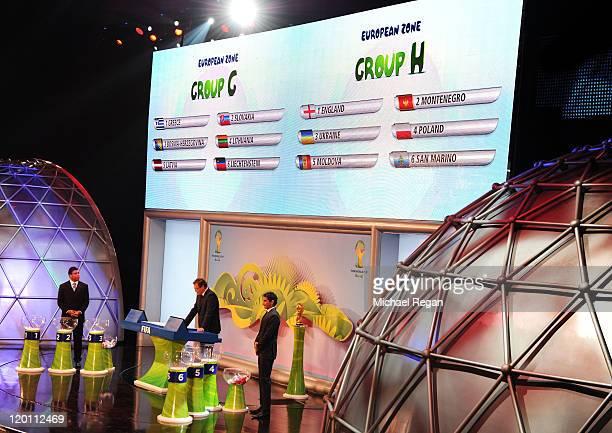 European Zone Groups G and H are displayed during the Preliminary Draw of the 2014 FIFA World Cup at Marina Da Gloria on July 30 2011 in Rio de...