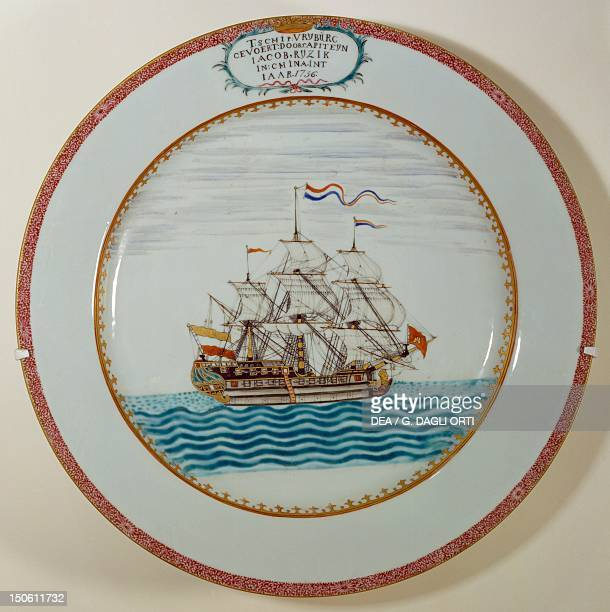 Europeaninspired plate with decoration depicting the Dutch ship Vryburg commanded by Captain Jacob Ryzik porcelain destined for the Dutch market...