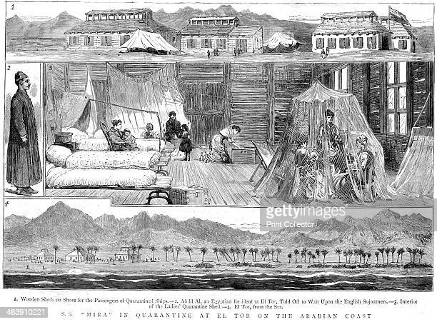 Europeans in a smallpox quarantine camp at El Tor North Africa 1884 Passengers from the SS Mira at a camp on the Arabian Coast The image shows 1...