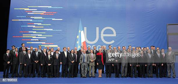Europeans Ministers of Economy and Finance and banks Europeans governors pose for the family picture on September 12 during the EU informal meeting...