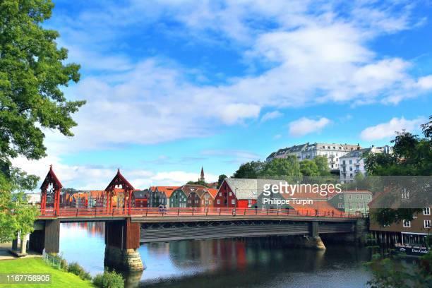 europe,norway, trondheim. gamle bybro, old town bridge - トロンハイム ストックフォトと画像